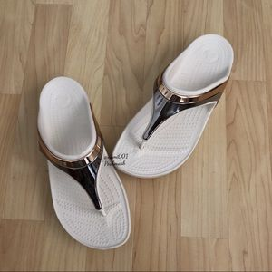 White Crocs Flip Flop Sandals Liquid Metallic
